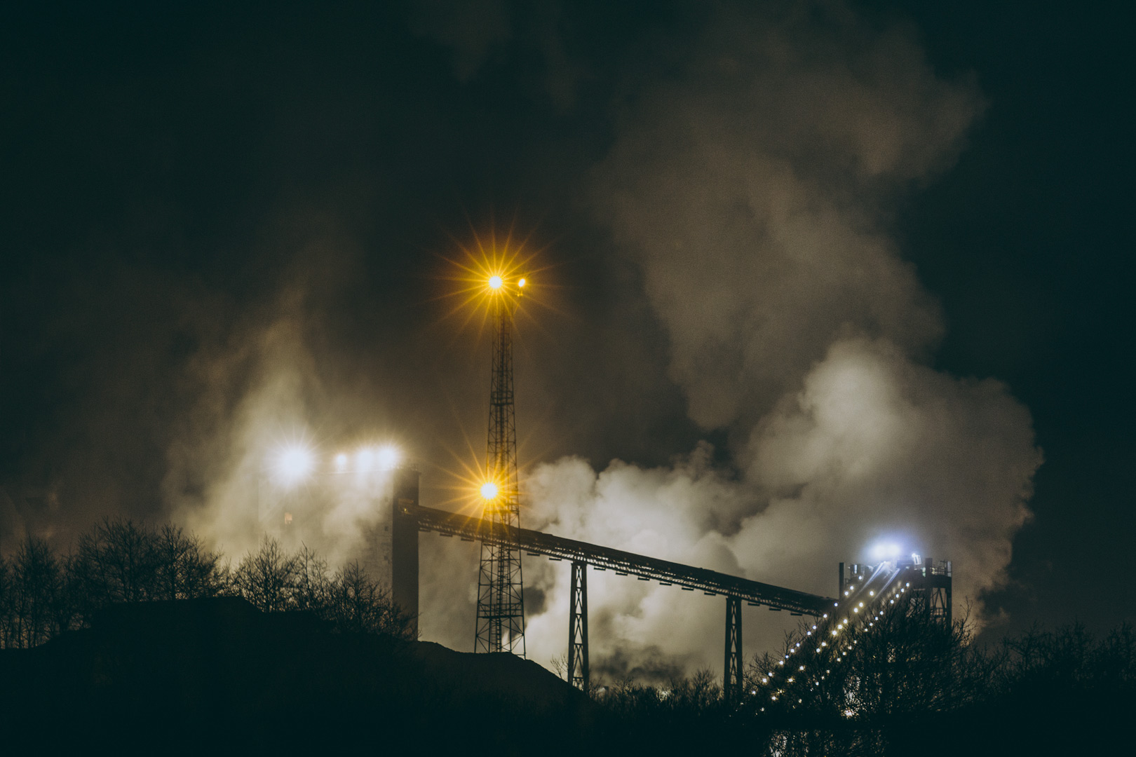 Port Talbot steelworks illuminated at night, Wales