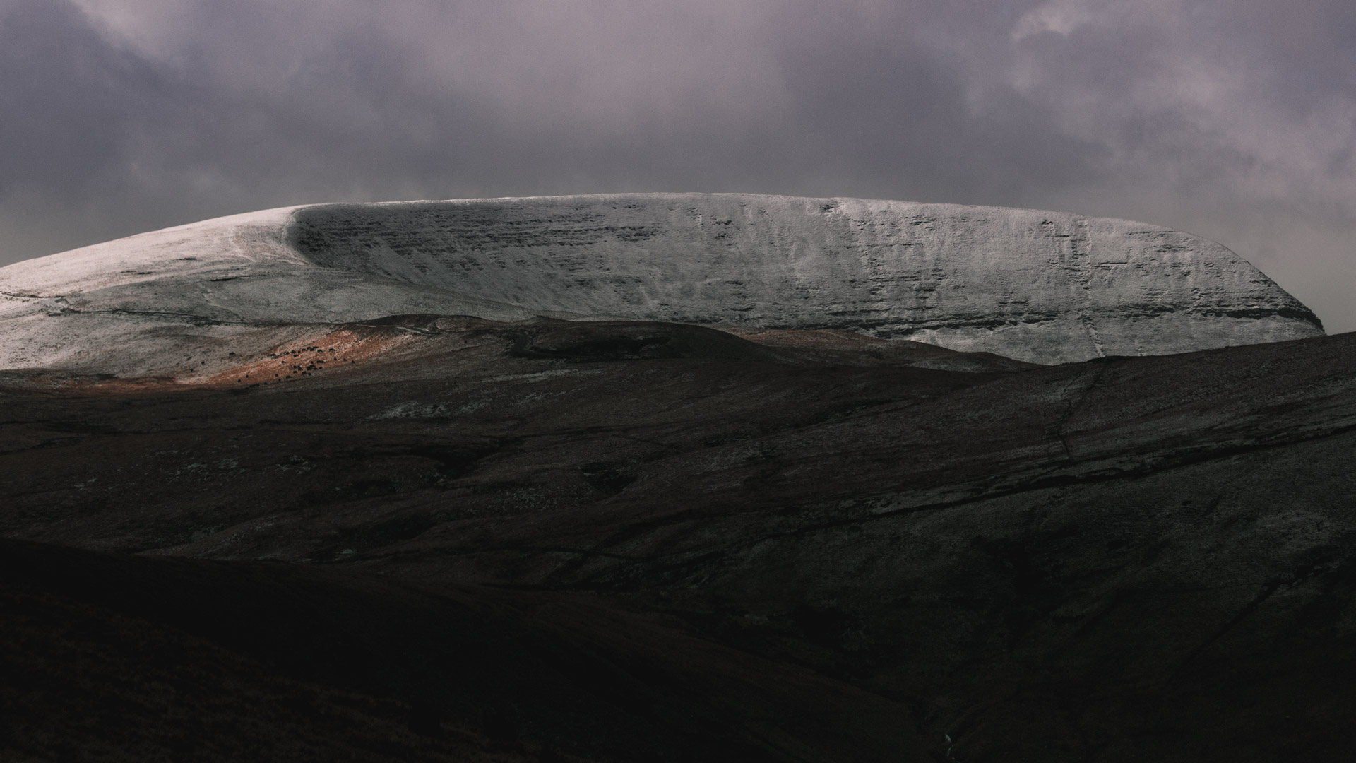 Snowy Fans (mountains) in Brecon Beacons, landscape photograph