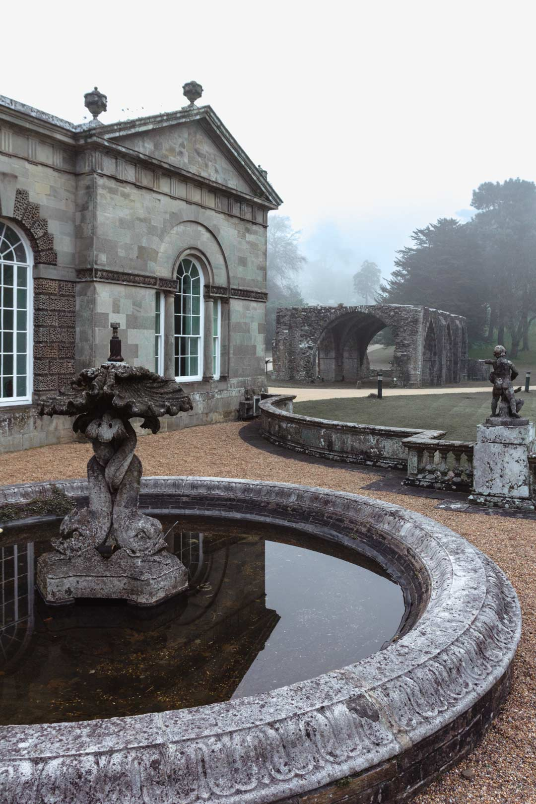 Architectural fountain at the Orangery designed in 1787 by Anthony Keck in Margam Park, Port Talbot
